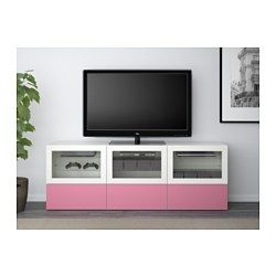 IKEA - BESTÅ, TV bench with doors and drawers, 180x40x64 cm, Lappviken pink/Sindvik white clear glass, drawer runner, soft-closing, , The drawers and doors close silently and softly, thanks to the integrated soft-closing function.You can control your electronic equipment with the doors closed, as the remote control works through the glass.It's easy to keep the cords from your TV and other devices out of sight but close at hand, as there are several cord outlets at the back of the TV…