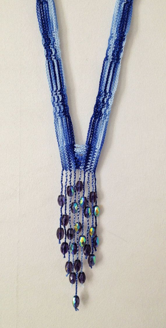 Mixed blues beaded crochet necklace by GabyCrochetCrafts on Etsy