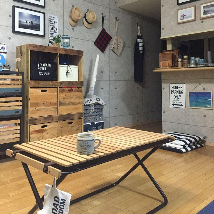 セルフリノベーション/カリフォルニアスタイル/コンクリート風壁紙/ローテーブル…などのインテリア実例 - 2015-12-08 21:06:05 | RoomClip(ルームクリップ)