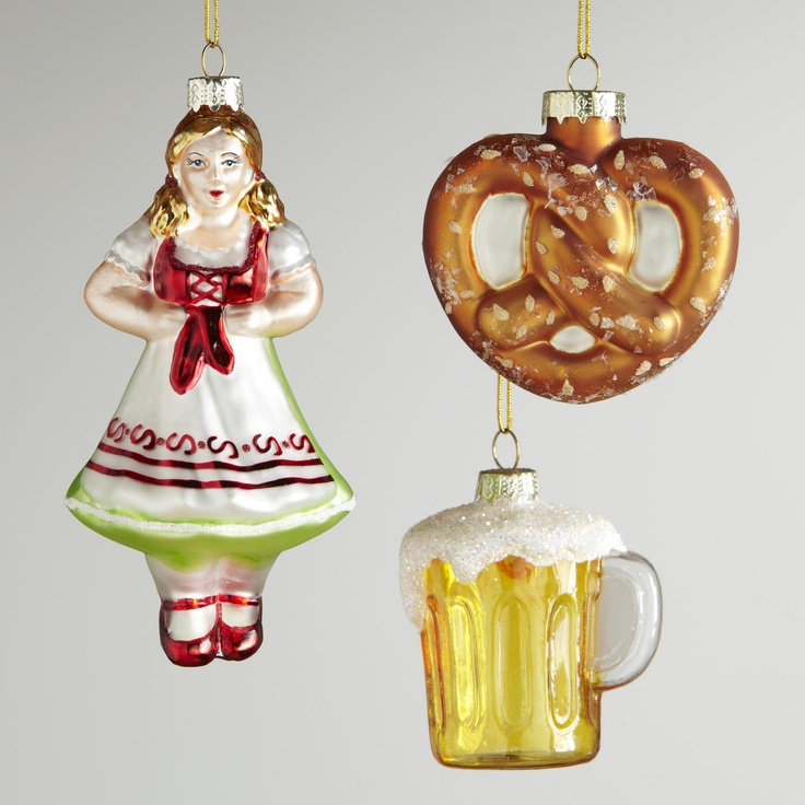 Glass germany ornaments set of 3 world market List of christmas ornaments