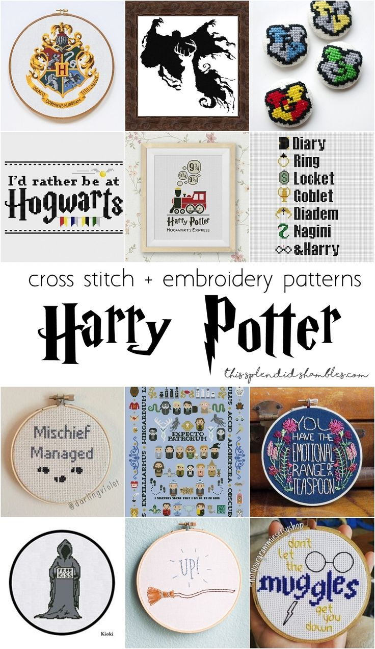 12 Harry Potter cross stitch and embroidery patterns and gifts! These are really neat and I'm looking forward to giving some of them a go!  http://www.thissplendidshambles.com/2016/09/harry-potter-cross-stitch/
