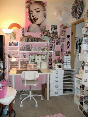 644 best girly craft rooms offices and closets images on for Shabby chic craft room