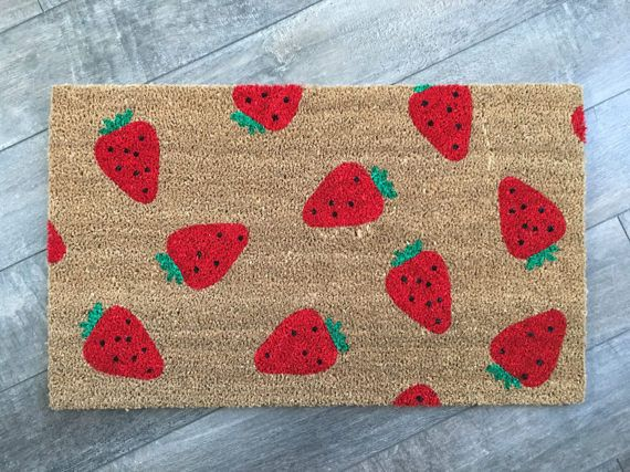 Strawberry pattern doormat /Hand painted, Custom welcome mat/ Wedding Gifts / Housewarming Gifts / Funny Doormat / Outdoor Summer Decor