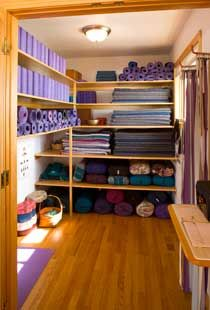 Simple, wood yoga storage. Needs space for blocks, mats, blankets, straps, eye pillows, bolsters.