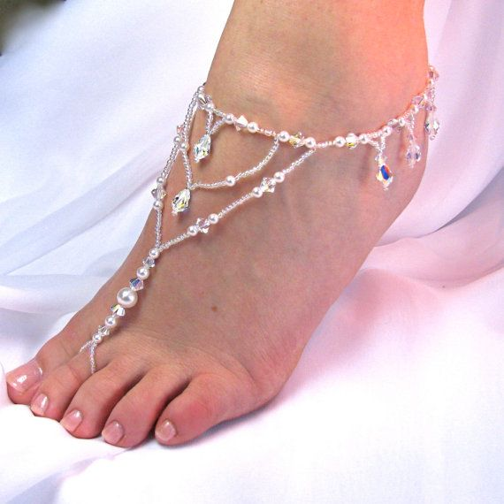 Barefoot Sandals Bridal Foot Jewelry Destination Beach Wedding Teardrop Swarovski Crystal Design 1 with fringe - Two Be Wed Jewelry