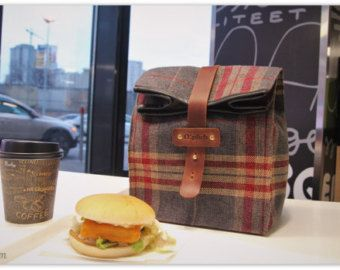 Plaid Lunch Tote for Men and Women / Insulated Lunch Bag /