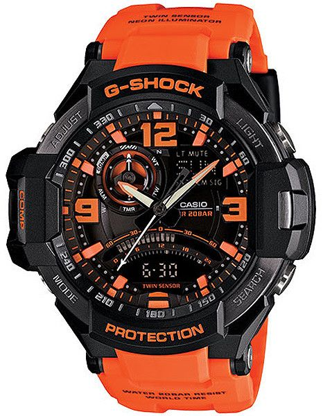 Casio G-Shock Mens G-Aviation Twin Sensor with Neon Illuminator - Orange & Black