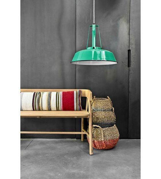 """HK-living Hanglamp jade groen metaal Ø45cm, Industriële lamp """"Workshop"""" L - wonenmetlef.nl €140"""