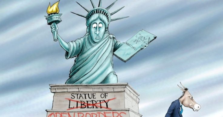 Liberals want to change the meaning of the Statue Of Libery to the Statue of Open Borders. Political Cartoon By A.F. Branco ©2017.