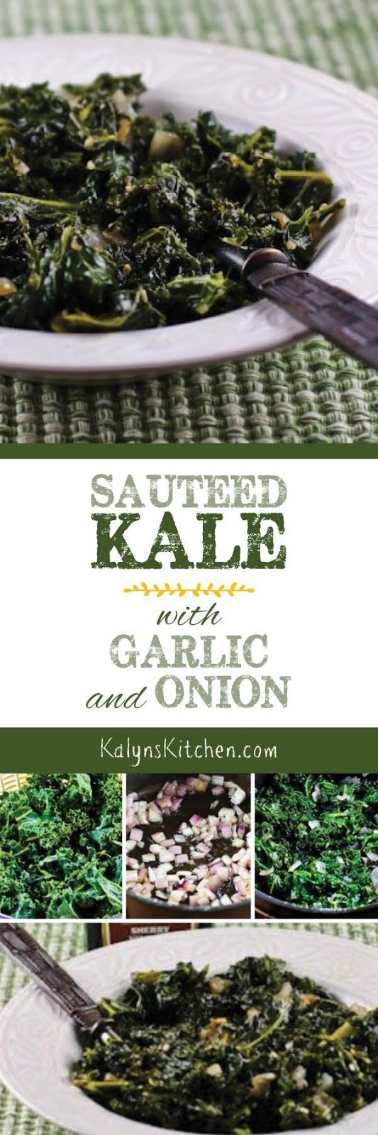 Sauteed Kale with Garlic and Onion is perfect whenever you need more green food in your life, and this tasty kale side dish is about as healthy as it gets, but also delicious. [found on KalynsKitchen.com] #SauteedKale #KaleSideDish #Kale