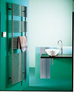 Cool minty greens in the bathroom.    Nice contrast with pastel towels or warm pastel touches.  Zehnder Solea Electric Radiator.   Buy Electric Towel Drying Radiators from UK Bathrooms