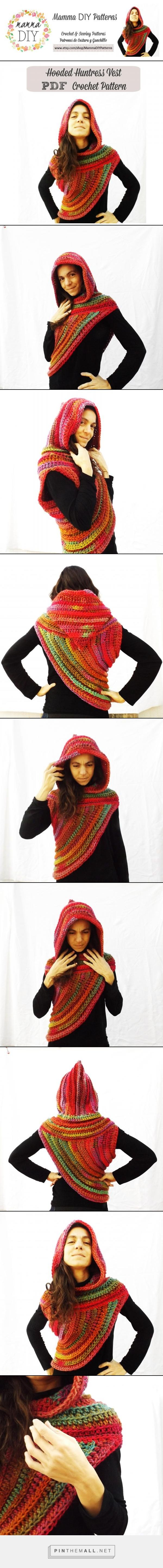 """Find Mamma DIY Patterns on Etsy! Great Phototutorial Crochet Pattern of this Hooded Huntress Vest """"Girl on Fire"""". More than 50 photos and graphics, for intermediate level!  #etsyshop #patterns #crochet #huntress #asymmetrical #vest #hood #katniss #cowl #poncho #hungergames #phototutorial #tutorial #diy #how #pattern #katiayarns #mammadiy #postapocalyptic #chunky #superchunky #bulky #scarf - created via http://pinthemall.net"""