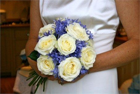 Ivory rose and blue agapanthus bouquet - use darker purples
