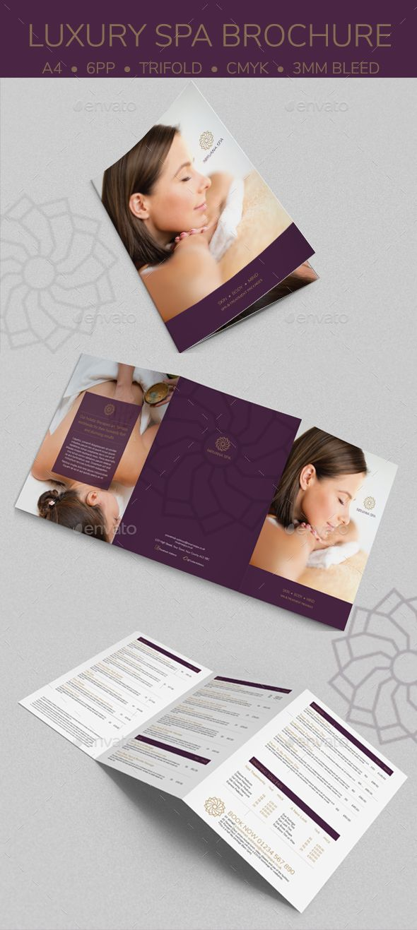 Luxury Spa Brochure — InDesign INDD #indesign #design • Download ➝ https://graphicriver.net/item/luxury-spa-brochure/19763755?ref=pxcr