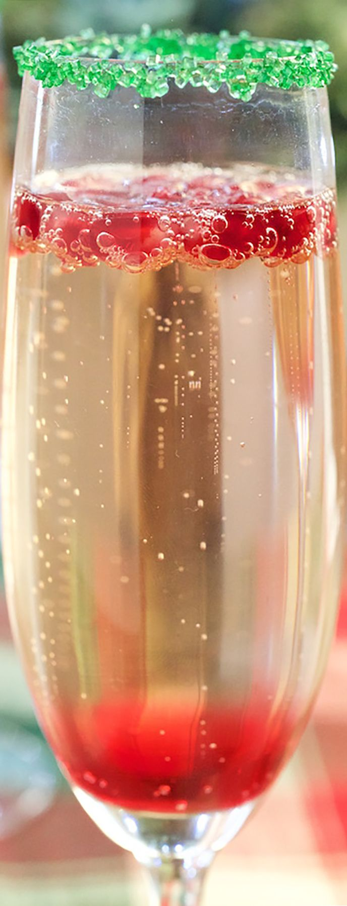 Christmas Cocktail Recipe - Red & Green Christmas Champagne Cocktail Recipe #christmas #christmasrecipes