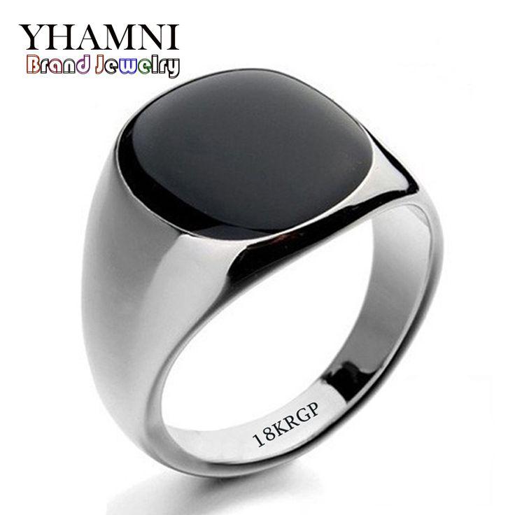 Hot Sale Da Moda Preto Anéis De Casamento Para Homens Marca de Luxo Pedras de Ônix preto Anel de Cristal Moda 18 KRGP Anéis Homens Jóias R0378(China (Mainland))