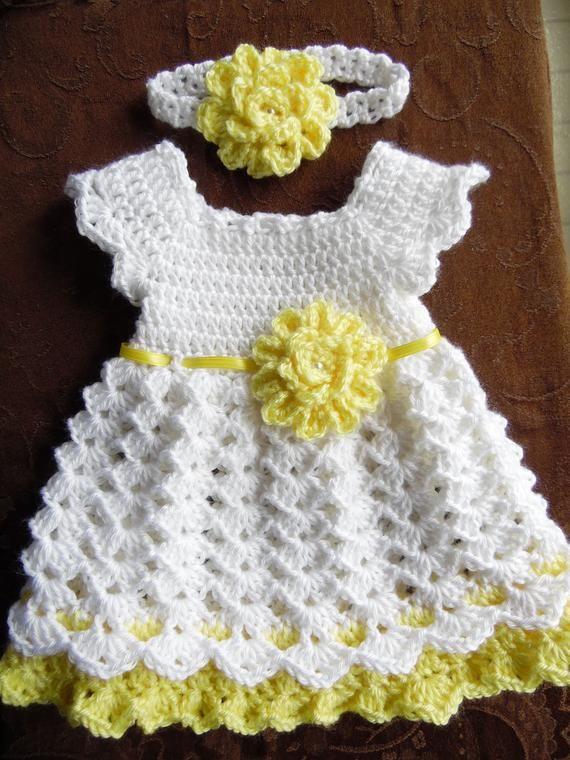 Crochet Baby Dress Set, White and Yellow Baby Dress Headband and ...
