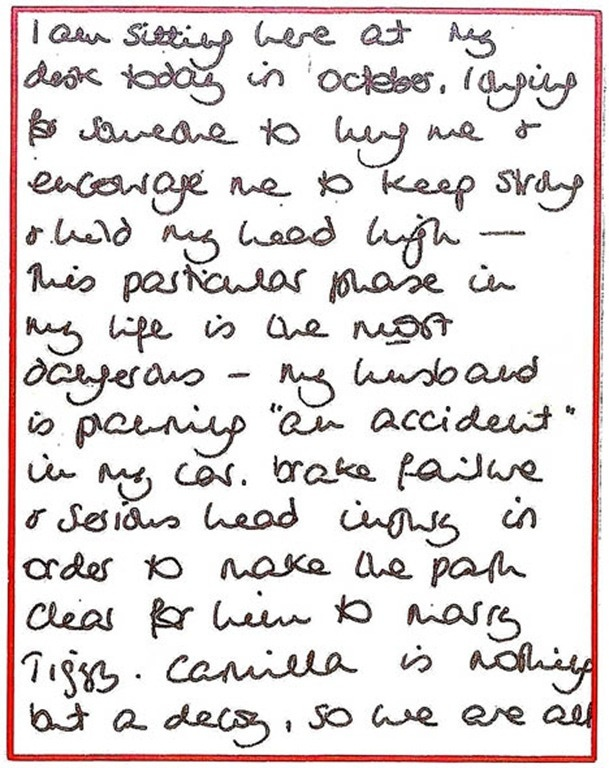 """Excerpt from Diana's writings - """"my husband is planning """"an accident"""" in my car, brake failure + serious head injury.."""" Is this a sign of the paranoia and mental illness her private secretary Patrick Jephson said he resigned over or was Diana rightfully feeling some impending doom even if not all of her suspicions were correct."""