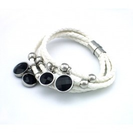 Trendy Black Agate 3-Row White Leather Bracelet with Magnetic Stainless Steel Clasp
