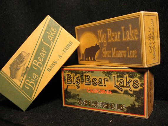 Big Bear Lake California fishing lure boxes cabin lodge lake house decor.
