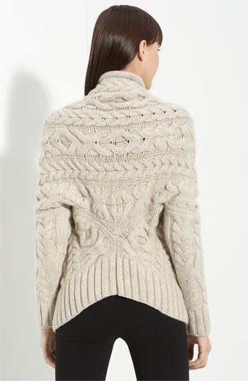 cabled cardigan by Nordstrom. Love the unusual back of this sweater!