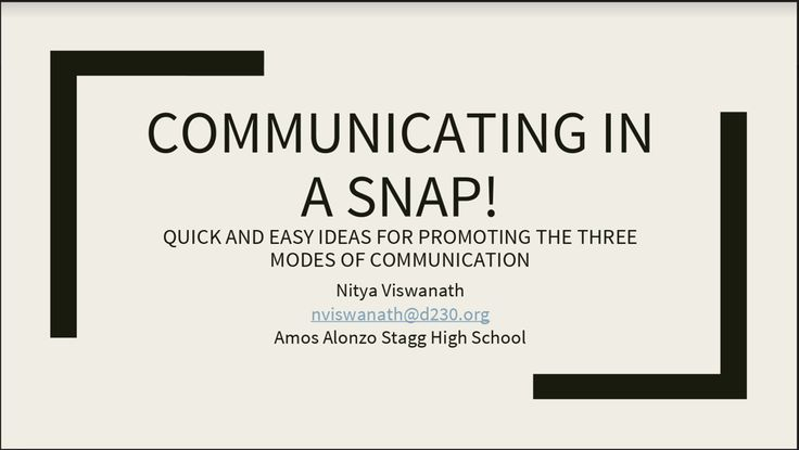 Communicating in a snap!  Quick and easy ideas for promoting the three modes of communication, presented by Nitya Viswanath