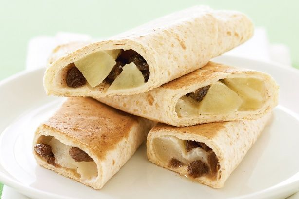 Apple And Sultana Wraps - Roll up these delicious apple and sultana wraps for a simple snack idea the kids will love!