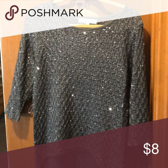 Blouse Gray woven top with sequin sparkles, high-low hem line and quarter length sleeves. nicole alexander Tops Blouses