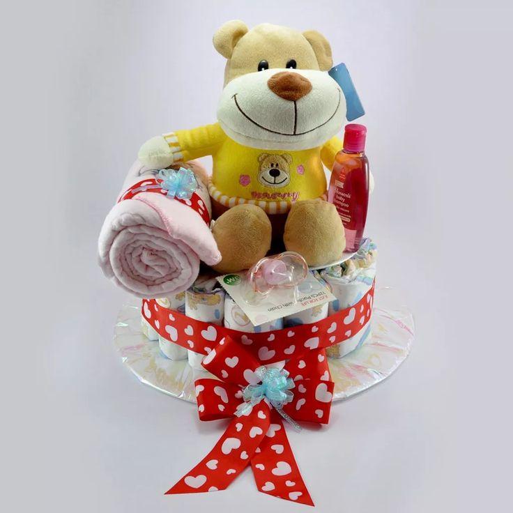 regalo de baby shower, torta de pañales,peluche antialérgico