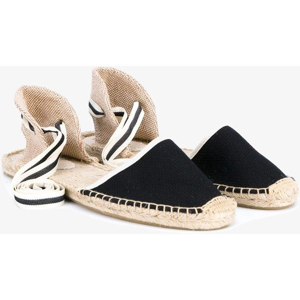 Soludos Striped Espadrille Sandals ($65) ❤ liked on Polyvore featuring shoes, sandals, summer sandals, black and white espadrilles, black and white striped shoes, evening sandals and espadrille sandals
