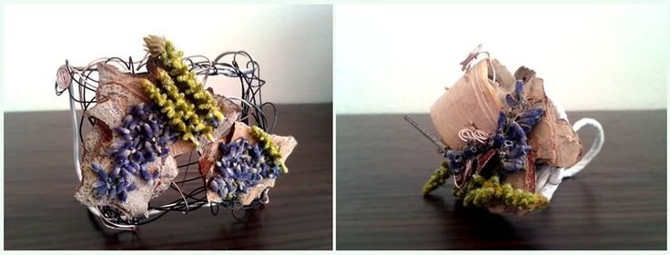 Bracelet, Ring, Handmade, Flowers, Lavander, Wire, Unique