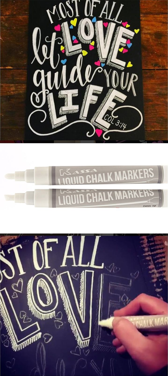 Use Liquid Chalk Markers to trace over regular chalk to create bright colors on a chalkboard that pops