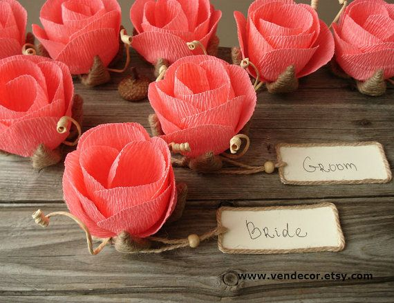 10 Flower Place Name Card Holders Rustic Wedding Place by VENDecor