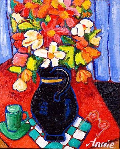 "Annie Robinson, ""Spring Flowers"" #art #spring #flowers #StillLife #bright #DukeStreetGallery"