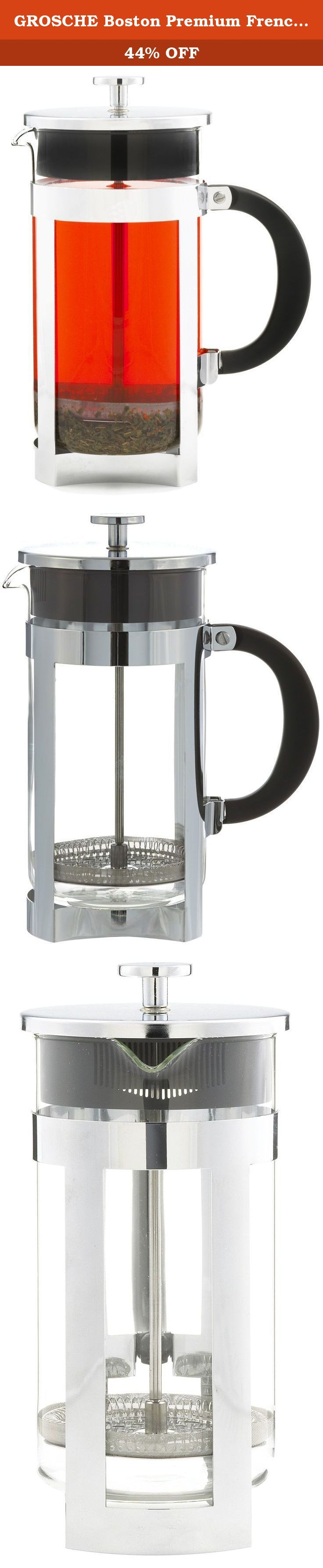 GROSCHE Boston Premium French Press Coffee and Tea Maker (1000 ml (34 oz.)). Would you like a true premium French Press coffee maker unlike the common types everybody else seems to have? Quality you can see and feel, makes you the tastiest coffee or tea and gives a bold look and presence to your table top. That's the BOSTON French Press coffee and tea maker by GROSCHE. A uniquely designed and crafted French Press with fine chrome construction makes for a wonderful table top coffee and tea...