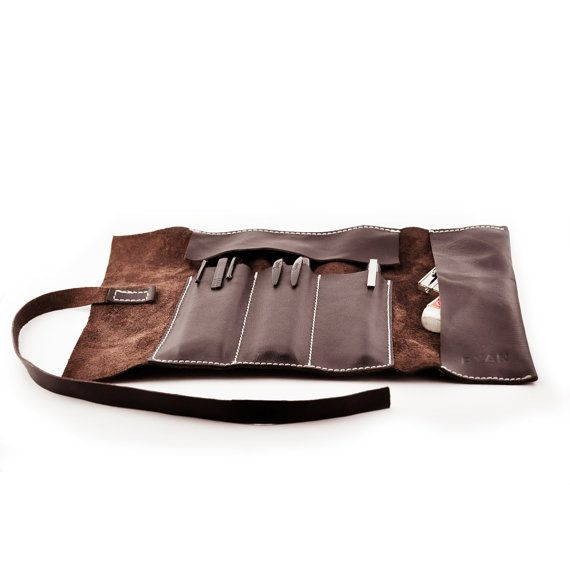 Cuero marrón de rollo caja de lápiz herramienta de por RYANLeather                                                                                                                                                                                 Más