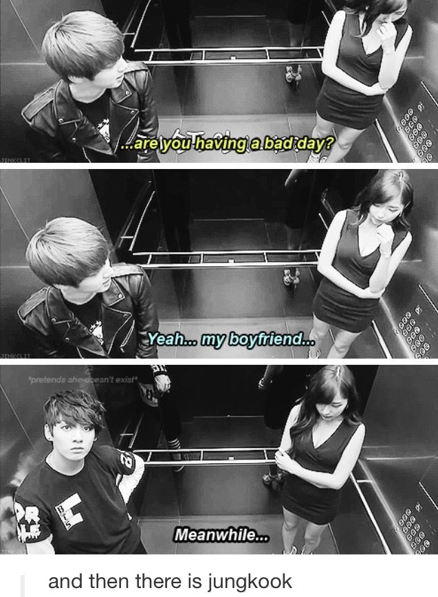 """Jin is so cute ^^ and then there's Jungkook and he's just standing there like """"wat am I supposed to do .-."""""""