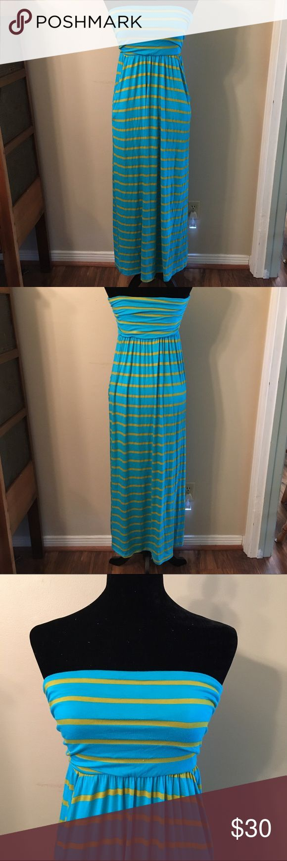 Women's maxi dress Strapless maxi dress, elastic waistband, two pockets (one on each side). Perfect summer dress! Dress it up or down for any occasion Apricot Lane Boutique Dresses Strapless