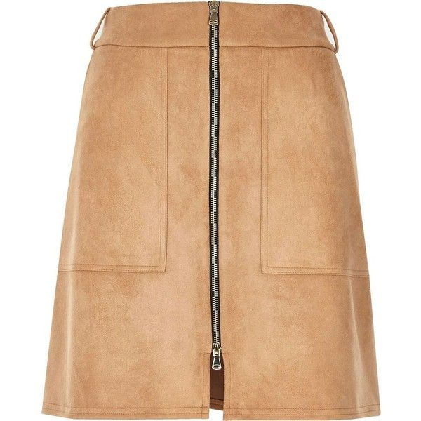 River Island <b>Beige faux suede</b> zip-up a-line skirt (905 RUB) liked on ...