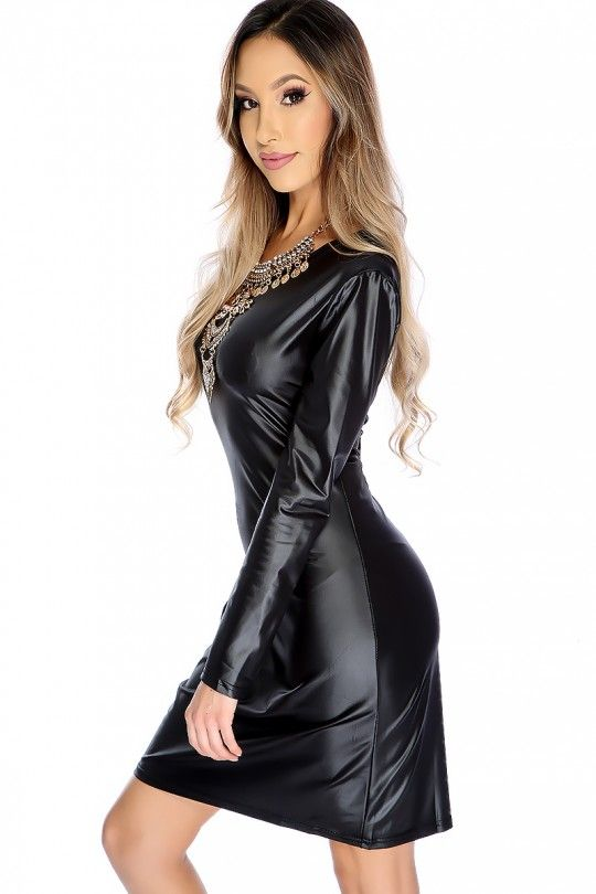 c666a5d5b7 Sexy Black Long Sleeve Faux Leather Party Dress Latex Dress