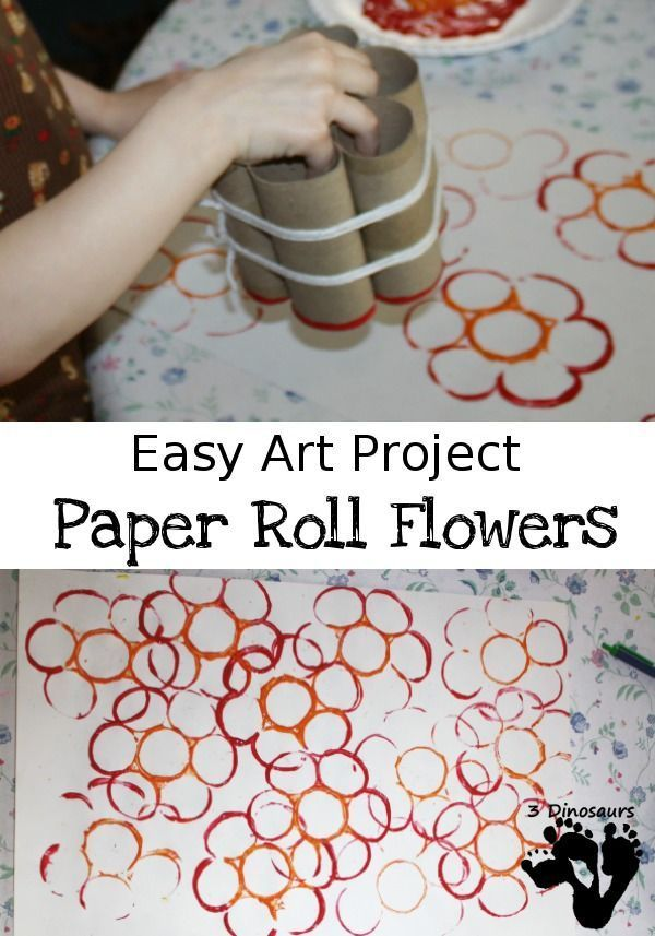 Easy Art Project: Paper Roll Flowers - fun and easy painting project for spring time - http://3Dinosaurs.com