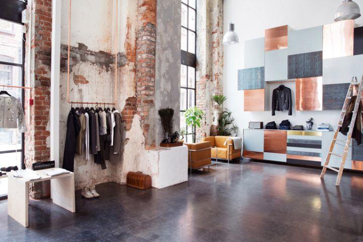 Концептуальный дизайн магазина одежды Mardou & Dean в стиле лофт