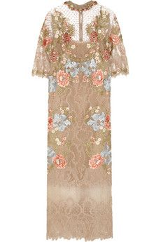 Biyan Inez embroidered lace and point d'esprit dress | NET-A-PORTER