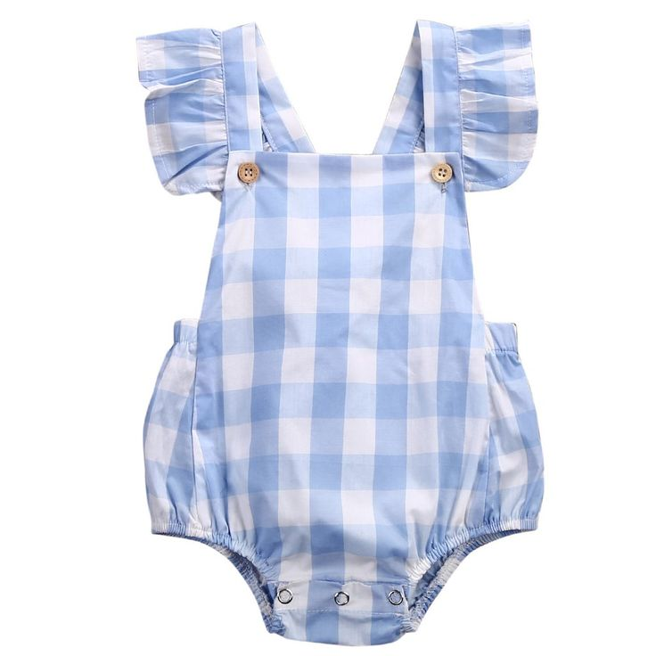 Baby Girl Gingham Cotton Romper, Blue and White