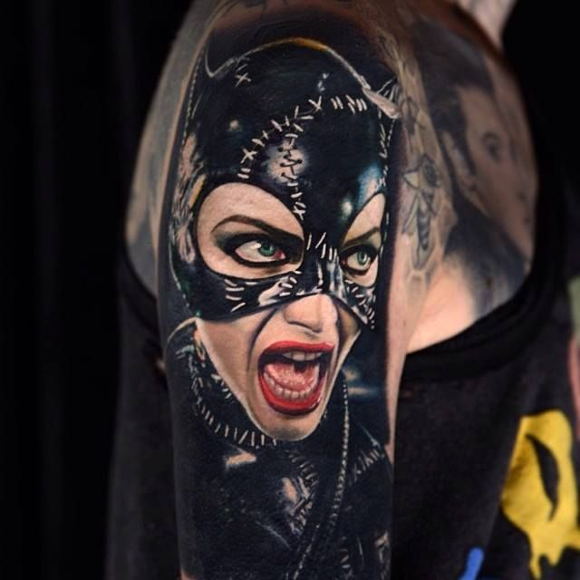 Tattoo Designs Woman Portrait: Flawless #Catwoman Colour Portrait Tattoo By Nikko Hurtado