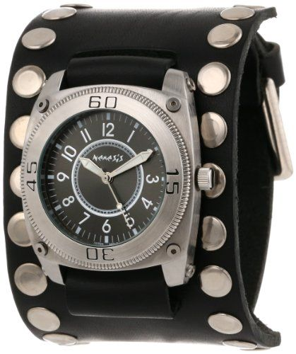 Men's Wrist Watches - Nemesis Mens SM012K Signature Stainless Steel Divers Black Dial Leather Cuff Watch >>> Want additional info? Click on the image.