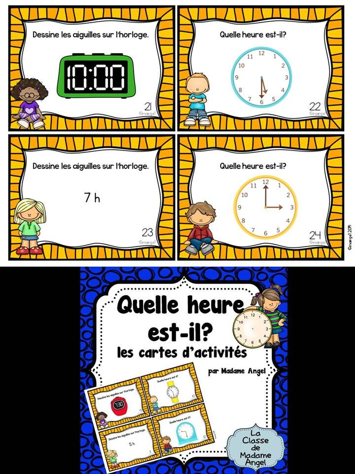 $ Quelle heure est-il?  Telling time task cards in French with times to the hour and half hour.