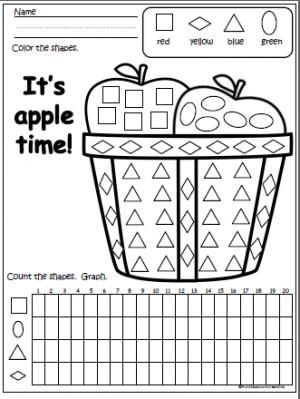 Free Fall/Apple theme worksheet for practicing with shapes, counting, coloring, and graphing. Students will color the shapes in the picture then count and graph.