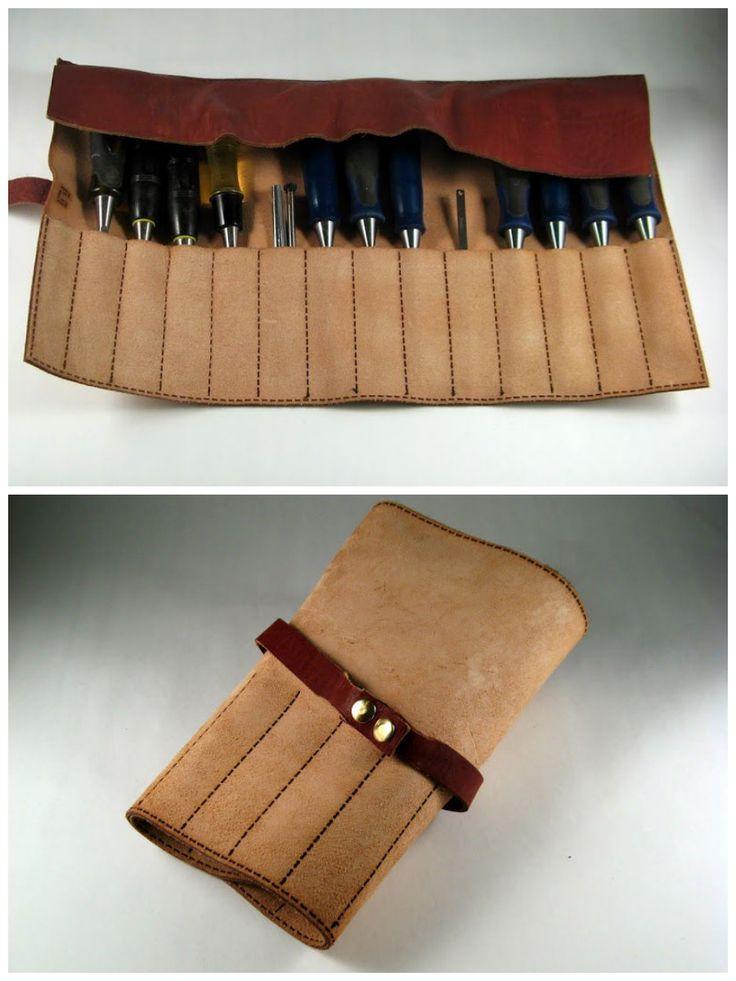 Laser Cut Leather Tool Roll #storage #organization #leatherworking