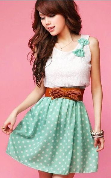 Amazing mini lace dress, satisfying you to be lovely need. Polka dot skirt and white lace tops show you much sweeter and lovely looks. With a wide belt which makes it look even more dreamy.